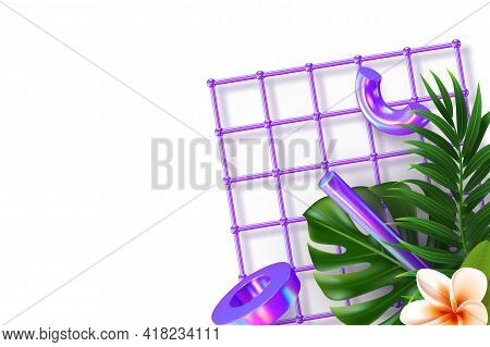 Minimal Banner With 3d Render Primitives And Tropical Leaves, Plumeria. 3d Geometric Shapes In Viole
