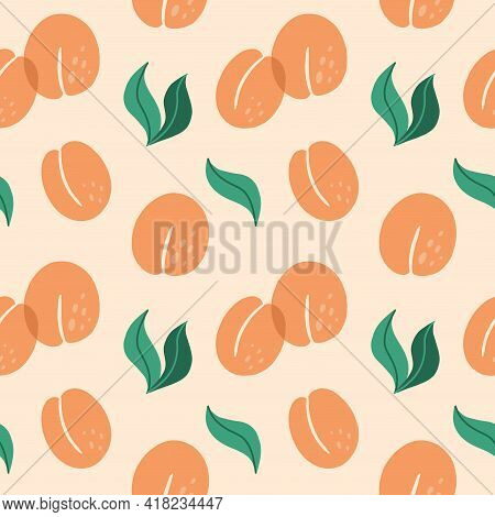 Apricot Seamless Pattern. Exotic Tropical Peaches Or Apricots Fresh Fruit On Pink Background. Whole