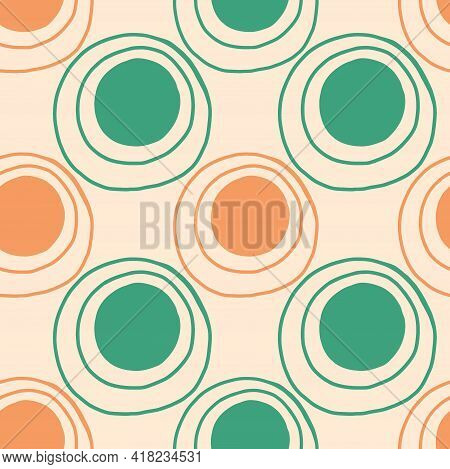 Doodle Dots Seamless Pattern. Hand Drawn Decor Textile, Cute Ornament Peach And Green Circles On Pas
