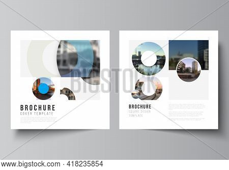 Vector Layout Of Two Square Format Covers Templates For Brochure, Flyer, Magazine, Cover Design, Boo