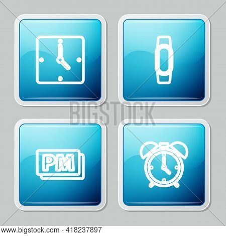 Set Line Clock, Smartwatch, Pm And Alarm Clock Icon. Vector