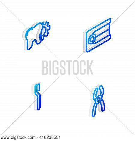 Set Isometric Line Dentures Model, Tooth Treatment Procedure, Toothbrush And Dental Pliers Icon. Vec