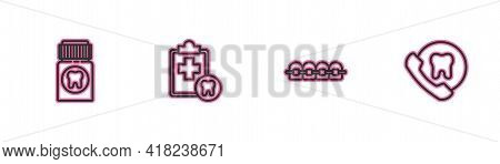 Set Line Painkiller Tablet, Teeth With Braces, Dental Card And Online Dental Care Icon. Vector