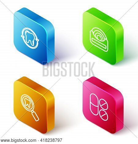 Set Isometric Line Tooth Whitening, Dental Floss, Search And Painkiller Tablet Icon. Vector