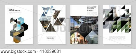 A4 Brochure Layout Of Covers Design Template With Triangles, Triangular Pattern For Flyer Leaflet, A