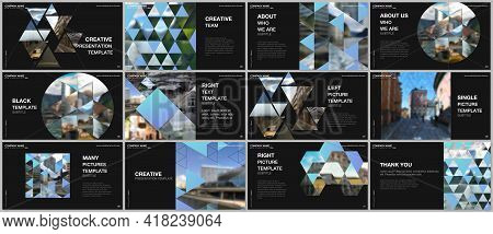 Presentation Design Vector Templates, Multipurpose Template With Triangles, Triangular Pattern For P