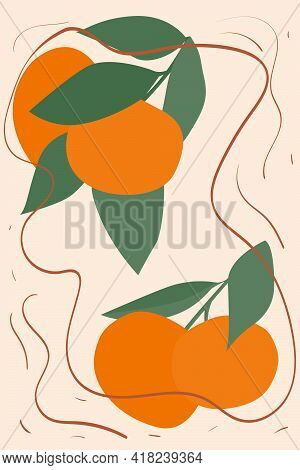Tangerine Sprigs On A Beige Background. Modern Design For Paper, Interior, Cover And More. Minimalis