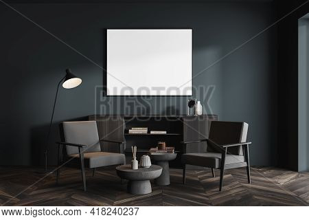 Blue Living Room Interior With Two Grey Armchairs And Coffee Table, Lamp And Drawer With Decoration.