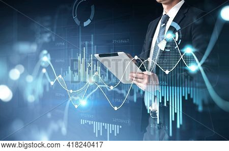 Office Man Using Digital Tablet, Stock Market Changes, Business Graph Bar Chart. Double Exposure Of