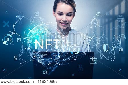 Attractive Businesswoman Working On Laptop, Non-fungible Token Hologram, Nft With Network Circuit An
