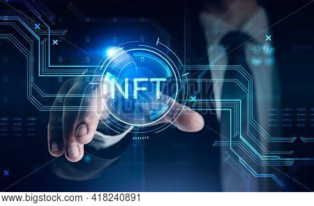 Businessman In Suit Touching Non-fungible Token Hologram On Virtual Screen, Nft With Network Circuit
