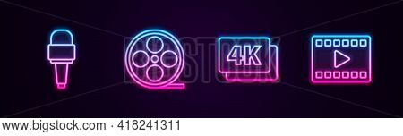 Set Line Microphone, Film Reel, 4k Ultra Hd And Play Video. Glowing Neon Icon. Vector