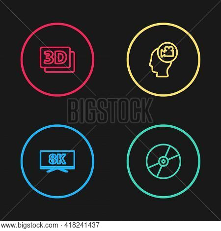 Set Line Screen Tv With 8k, Cd Or Dvd Disk, Head Camera And 3d Word Icon. Vector