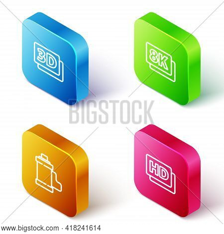 Set Isometric Line 3d Word, 8k Ultra Hd, Camera Film Roll Cartridge And Hd Movie, Tape, Frame Icon.