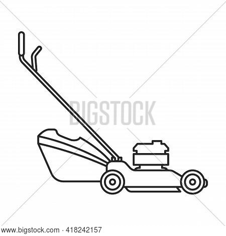Lawn Mower Vector Outline Icon. Vector Illustration Lawnmower On White Background. Isolated Outline