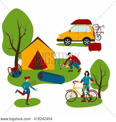 Travel By Car, Tourist Vacation. Camping. Mom Is Going To Ride A Bike, Dad Is Pitching A Tent, The G