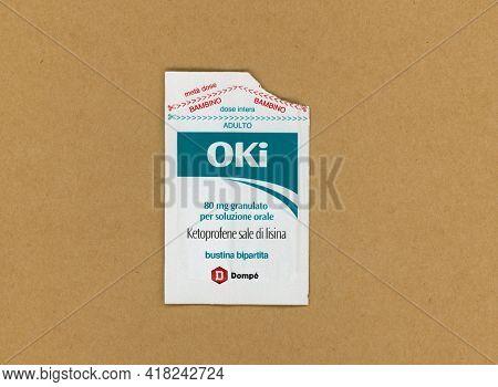 Milan, Italy - Circa April 2021: Oki Ketoprofen Lysine Salt Nonsteroidal Anti Inflammatory Drug