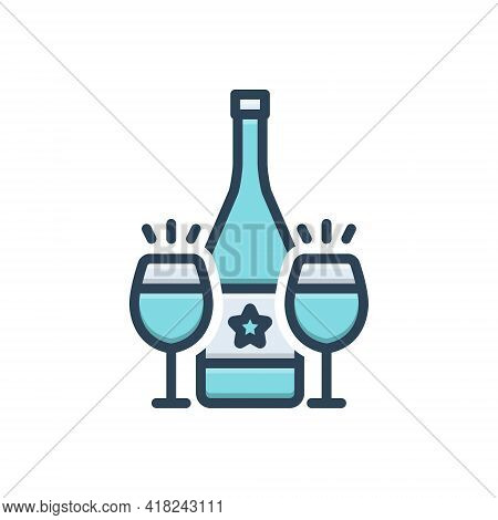 Color Illustration Icon For Cava Wine Bottle Glass Drink Alcohal Liquor Beverage Libation