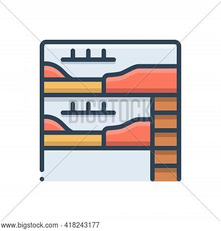 Color Illustration Icon For Dormitory Hostel Dorm Bedroom Dormer Hotel Residential Room