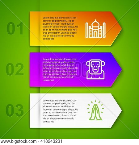 Set Line Taj Mahal, Monkey, Hands In Praying Position And Christian Cross. Business Infographic Temp