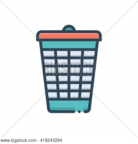 Color Illustration Icon For Bin Dustbin  Trash-cans  Garbage Recycling Rubbish Basket Container Disc