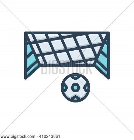 Color Illustration Icon For Net Mesh Snare Toils Netting Ball Soccer-ball