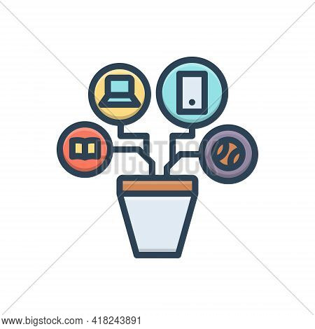 Color Illustration Icon For Resources Modality  Remedy Means Appliance