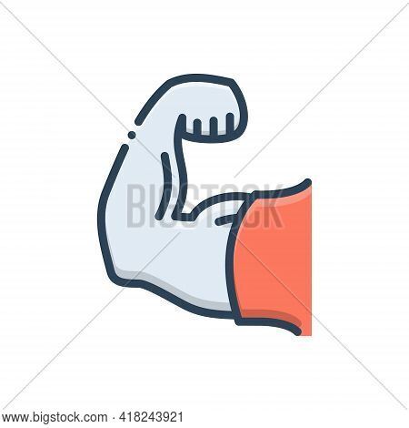 Color Illustration Icon For Strong Sturdy Robust Powerful Impressive Influential Effective Imposing
