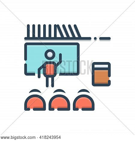 Color Illustration Icon For Teaching Teach Coach Teacher Student Learn Education Lecture Trainer Pre