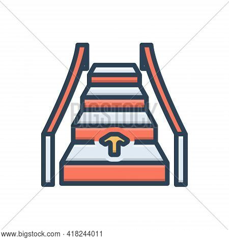 Color Illustration Icon For Automatic Ladder Technology Electronic Automatical