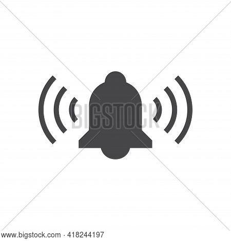 Ringing Bell Black Vector Icon. Doorbell Or Handbell Symbol.
