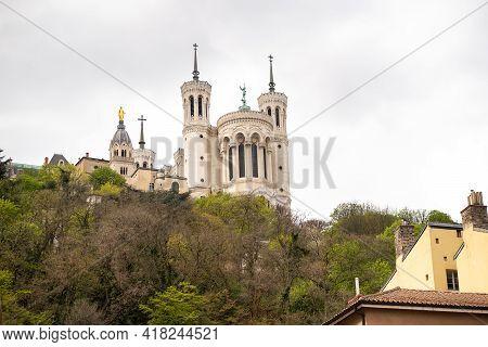 Basilique Fourviere. View Of Basilica Of Notre Dame De Fourviere, Lyon, France. The La Fourviere Chu