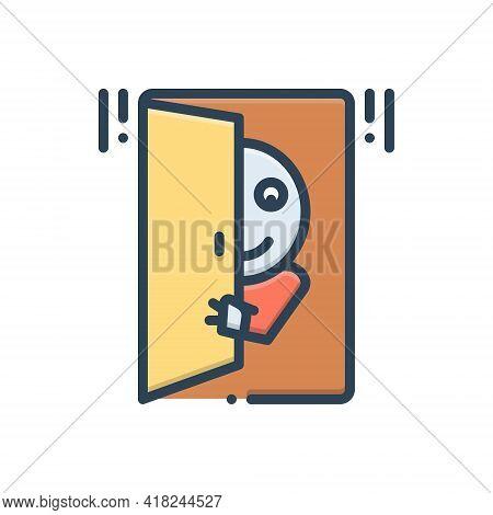 Color Illustration Icon For Peek Peep Human Snoop Keek