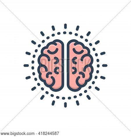 Color Illustration Icon For Mind Nous Sense Brain Neurology Think Idea