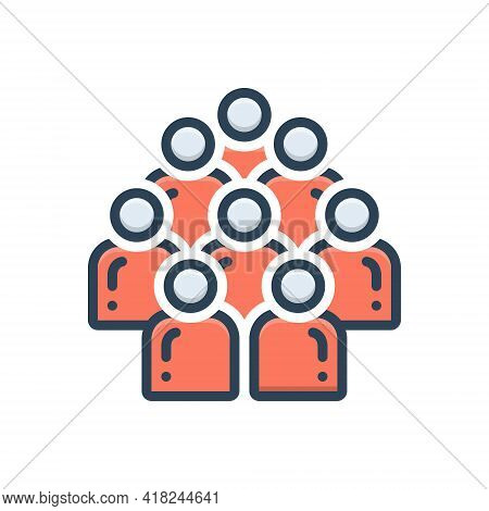 Color Illustration Icon For Multitude Crowd Mob Horde Concourse People
