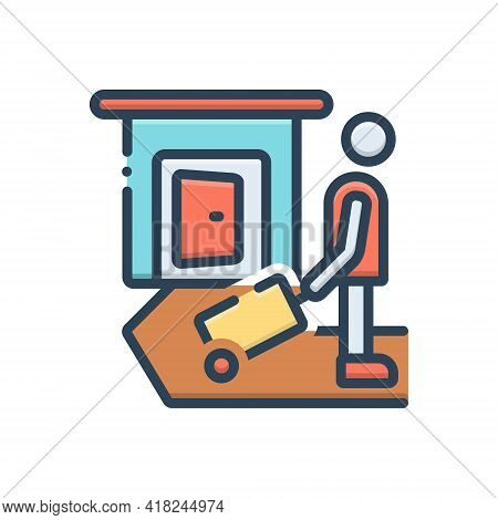 Color Illustration Icon For Leave  Travel  Vacation Weekends Check-out Exit