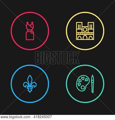 Set Line Fleur De Lys, Paint Brush With Palette, Notre Dame And Woman Dress Icon. Vector