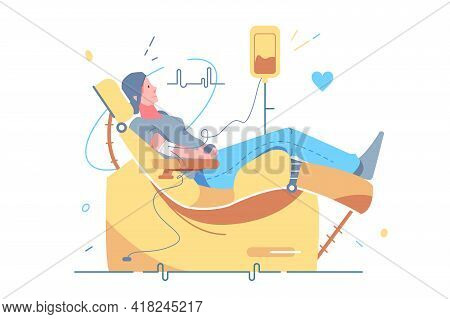 Woman Donating Blood In Clinic Vector Illustration. Volunteer With Donating Blood In Hospital Flat S