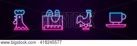 Set Line French Rooster, Baguette Bread, Rooster Weather Vane And Coffee Cup. Glowing Neon Icon. Vec