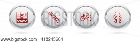 Set Line Notre Dame, French Baguette Bread, Bicycle And Frog Legs. Silver Circle Button. Vector