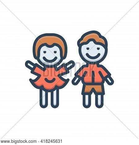 Color Illustration Icon For Children Kids Brood Progeny Descendant Scion Offspring Generation