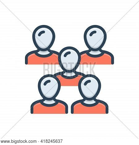 Color Illustration Icon For Crowd Multitude Mob Horde Throng