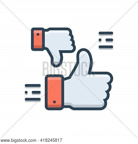 Color Illustration Icon For Perhaps Probably Maybe Presumably  Confused  Yes-no Thumb Up Down
