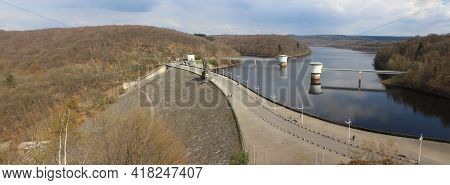Panoramic View Of The Gileppe Dam And Gileppe Lake Near Jalhay In Wallonia, Belgium. The Arch Gravit