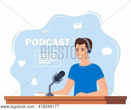 Man Records A Podcast In The Studio. Men Leading The Broadcast On The Radio Station. Man In Headphon
