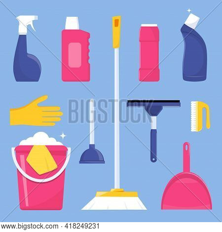 Cleaning Tools And Detergent For Cleaning Service Web Banner, Poster Design. Bucket, Scoop, Brush, W