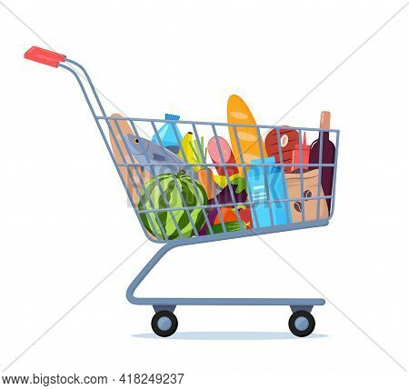 Shopping Trolley Full Of Food, Fruit, Products, Grocery Goods. Grocery Shopping Cart. Buying Food In