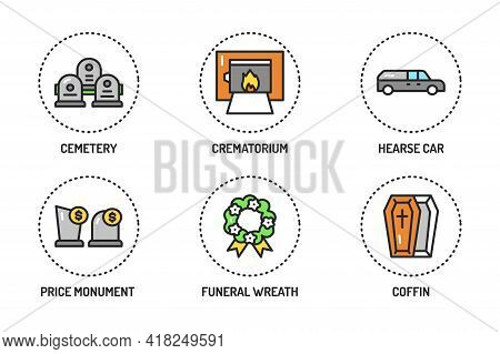 Funeral Services Color Line Icons Set. Isolated Vector Element.
