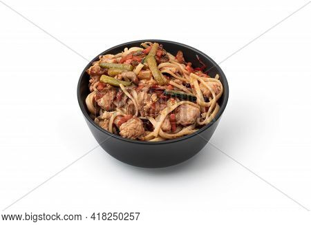 Asian Wok Noodles On White Background. Wok Noodles Close-up.