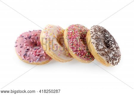 Donuts Close-up On A White Background. Round Donuts Isolated On White Background.